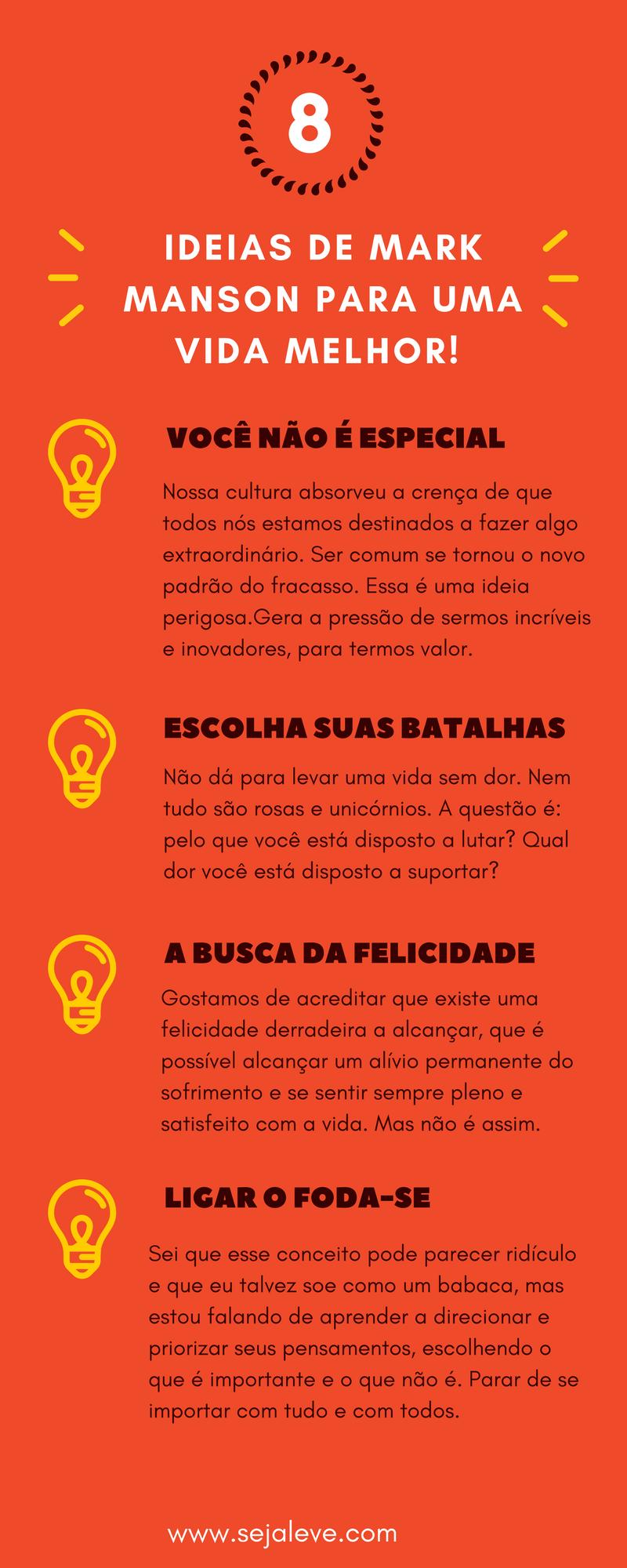8 Mensagens Do Livro A Sutil Arte De Ligar O Fda Se Infográfico